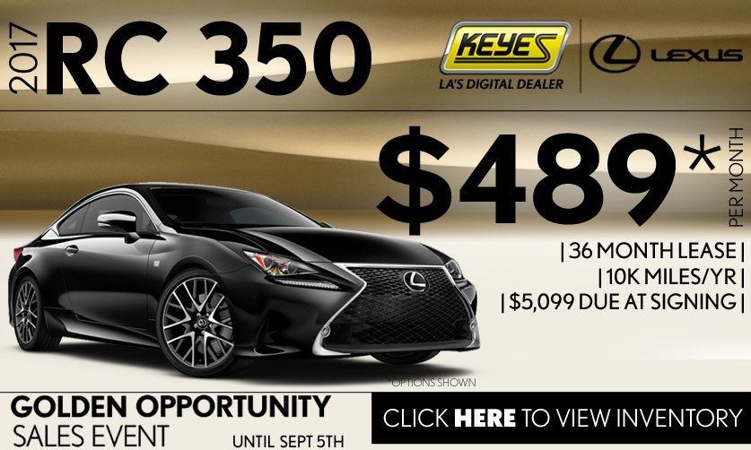 New 2017 Lexus RC 350 Premium Performance Coupe Lease Special Serving Los Angeles, Van Nuys, and Beverly Hill, CA