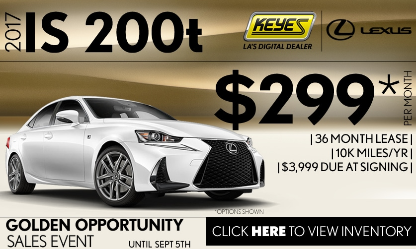 New 2017 Lexus IS 200t Sport Sedan Lease Special Serving Los Angeles, Van Nuys, and Beverly Hill, CA