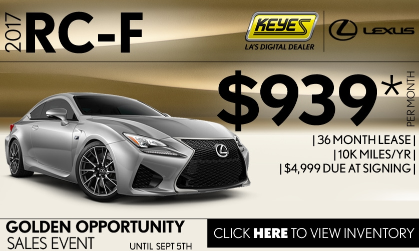 New 2017 Lexus RC-F Premium Lease Special Serving Los Angeles, Van Nuys, and Beverly Hill, CA