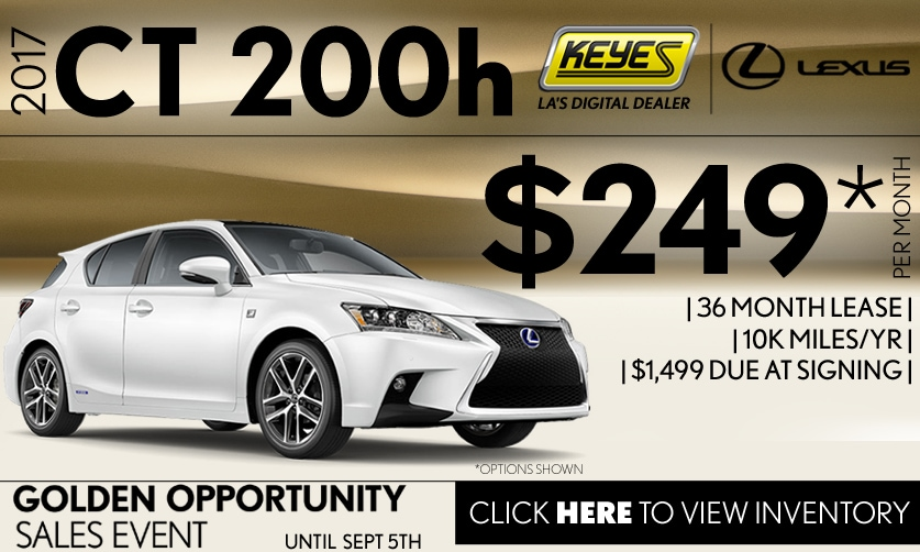 New 2017 Lexus CT 200 Hybrid Premium Lease Special Serving Los Angeles, Van Nuys, and Beverly Hill, CA