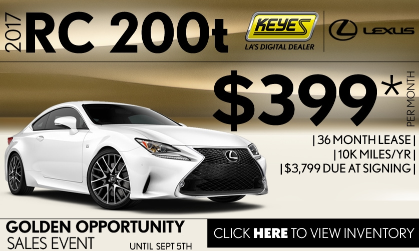 New 2017 Lexus RC 200t Premium Lease Special Serving Los Angeles, Van Nuys, and Beverly Hill, CA