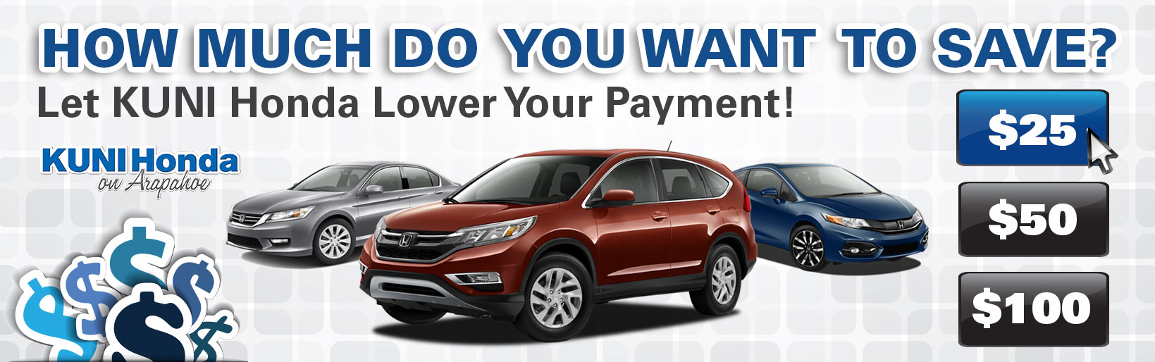 Auto financing options lower car payment near denver for Honda financial payments