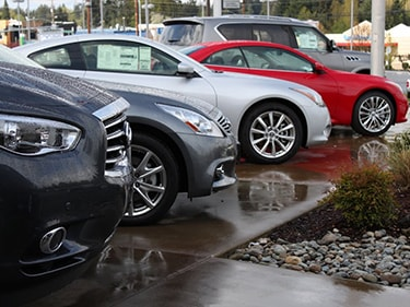 Great lineup of Infiniti's right on our beautiful patio.