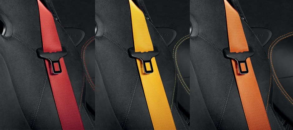 Colored Seat Belts avaible in Red, Yellow, and Orange.