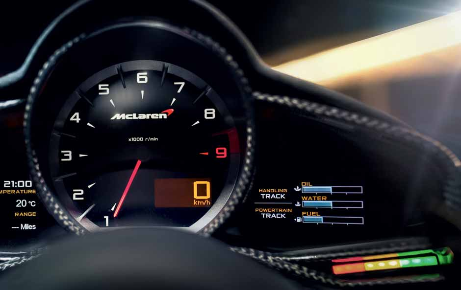 Carbon Fibre Instrument Cluster with Integrated Shift Lights available for mso mclaren models