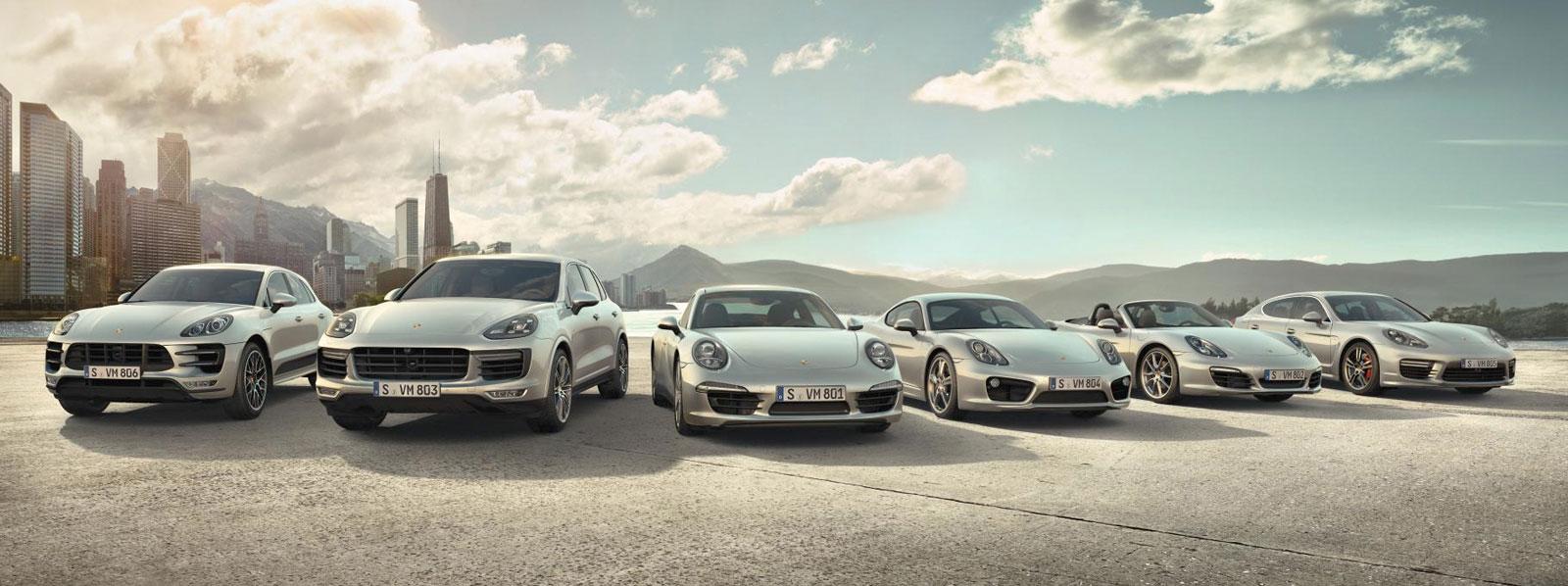 Lineup of Porsche models