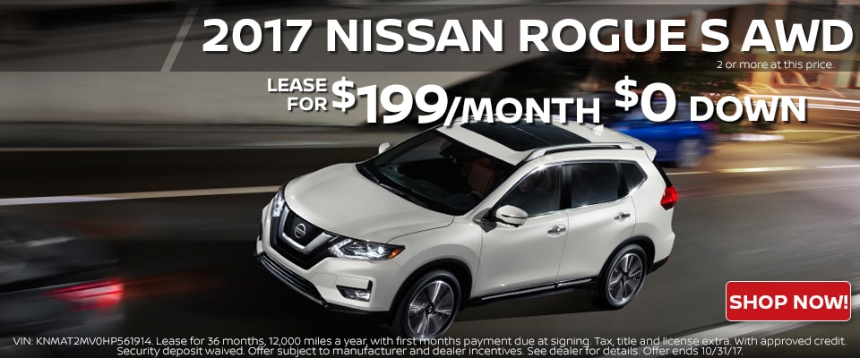 2017 Nissan Rogue lease for only $199.00 a month