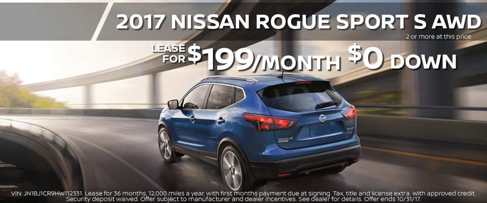 2017 Nissan Rogue Sport lease for only $199.00 a month