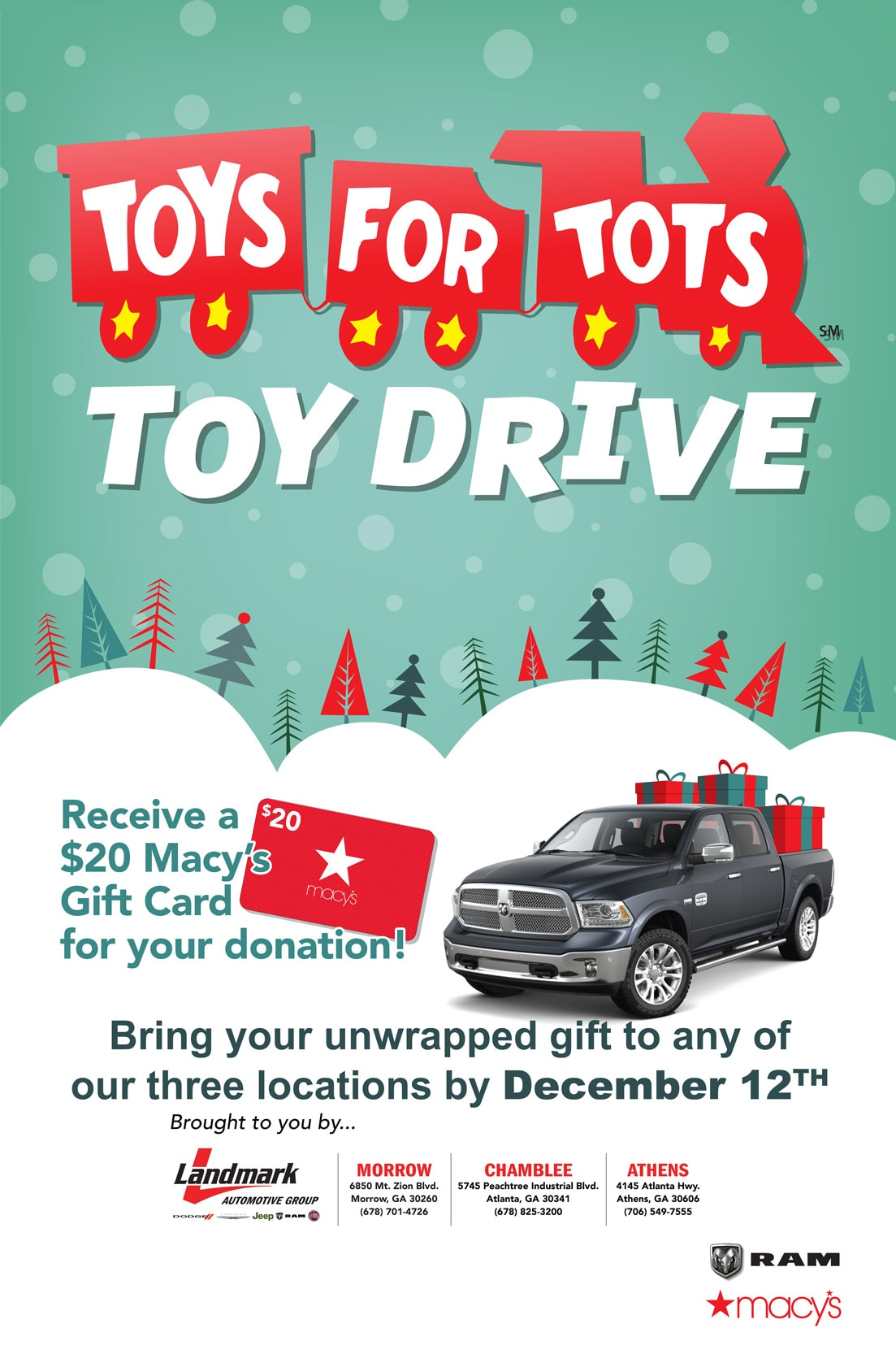 Toys For Tots 2017 Poster : Toys for tots at landmark athens dodge chrysler