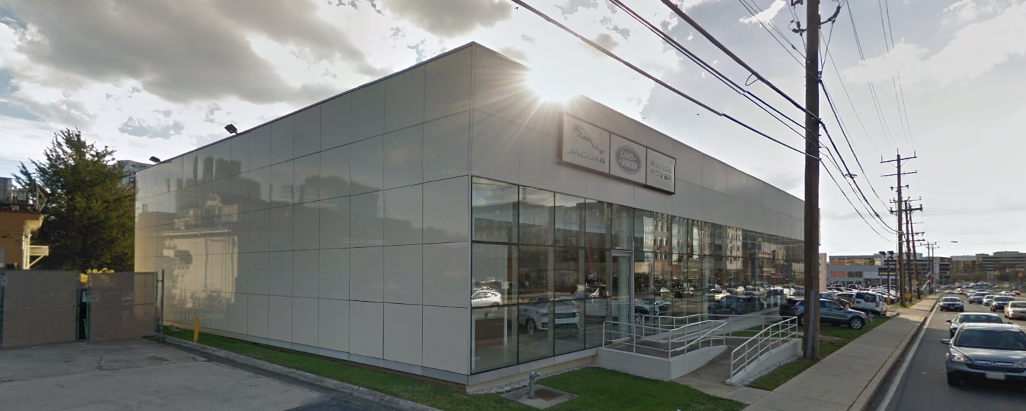Exterior of Land Rover Bethesda Dealership during the day