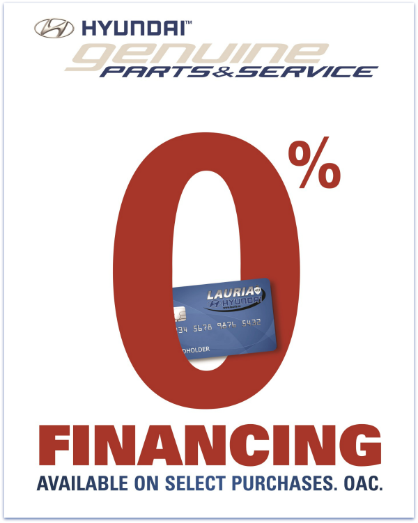 0% financing on select purchases at Lauria Hyundai, Port Hope, ON