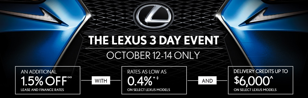The Lexus 3 Day Event, October 12-14 ONLY