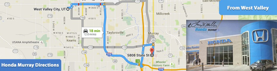 Directions to larry h miller honda murray from west valley for Larry miller honda murray