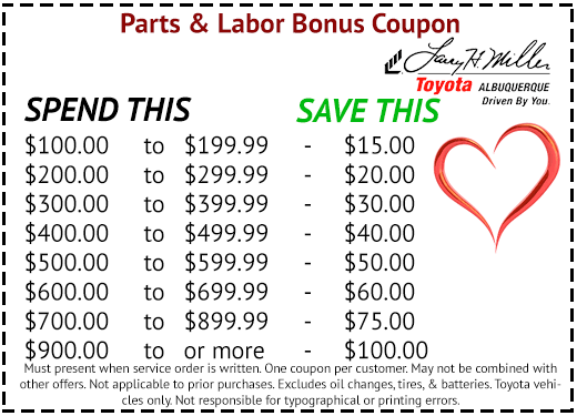 Toyota Parts & Labor Coupon Albuquerque