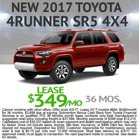 New 2017 Toyota 4Runner Lease Colorado Springs 80905