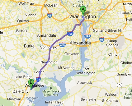 Directions map from Washington DC to Lustine Chrysler Dodge Jeep