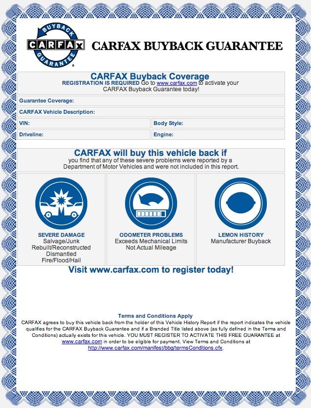 Carfax Buyback Guarantee