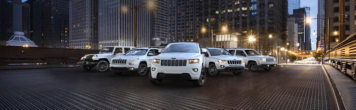 Jeep SUV lineup featured in white exterior color