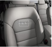 This is an example of a torn seat which does not pass the Credit Card® Test on a Mercedes-Benz lease.