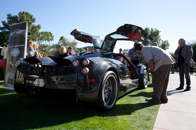 The Pagani Huayra, also available at our dealership, was on display at the Concours.