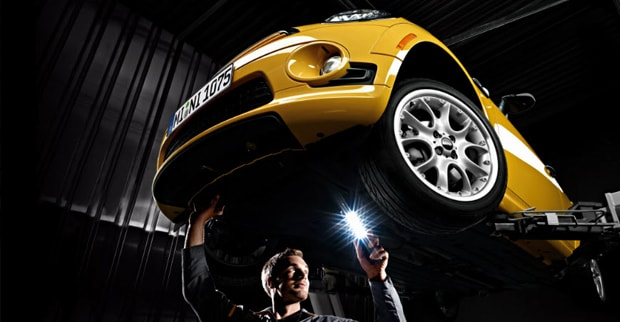 MINI Cooper maintenance being conducted by an expert technician