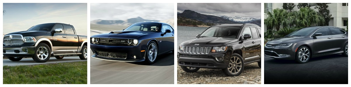 collage of new Ram truck, Dodge Charger, Jeep SUV & Chrysler 200