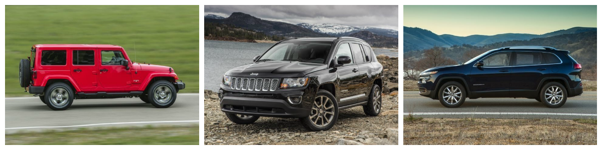 New 2017 Jeep Wrangler Unlimited, Compass and Grand Cherokee collage