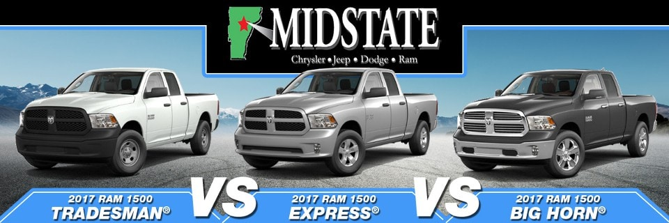 Ram Big Horn >> 2017 Ram 1500 Tradesman vs. Express vs. Big Horn in Barre, VT | Midstate CDJR
