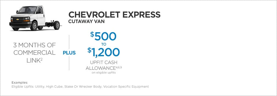 Chevrolet Express Cutaway Van Commercial Incentives