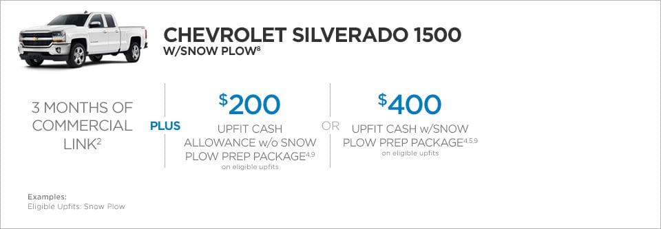 Chevrolet Silverado 1500 W/Snow Plow Commercial Incentives