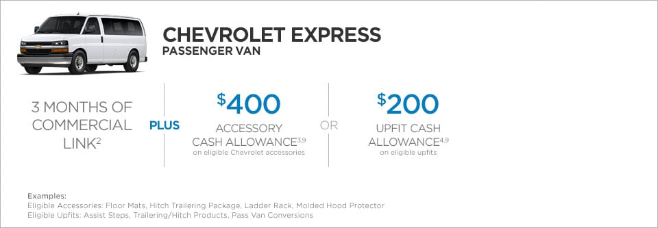 Chevrolet Express Passenger Van Commercial Incentives