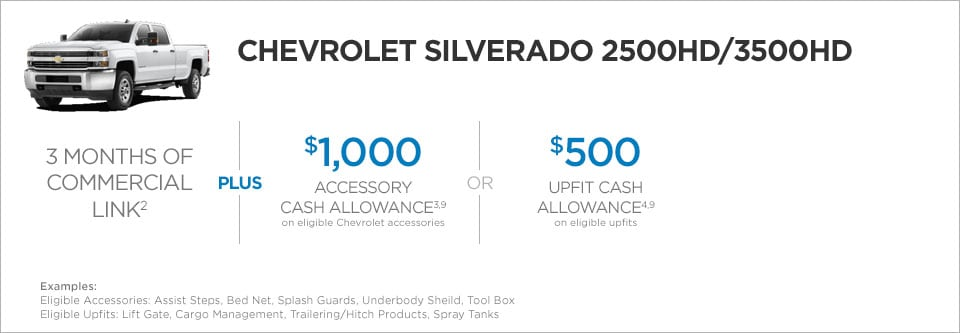 Chevrolet Silverado 2500/3500 Commercial Incentives