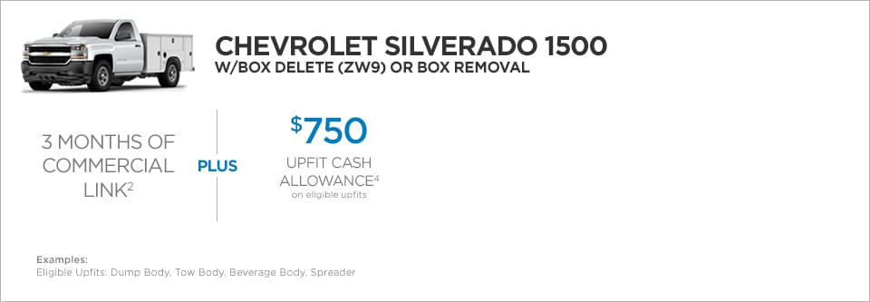 Chevrolet Silverado 1500 W/Box Delete or Box Removal Commercial Incentives