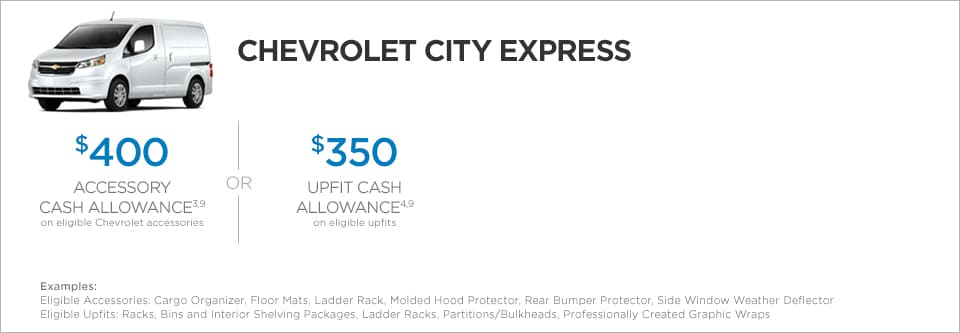 Chevrolet City Express Van Commercial Incentives