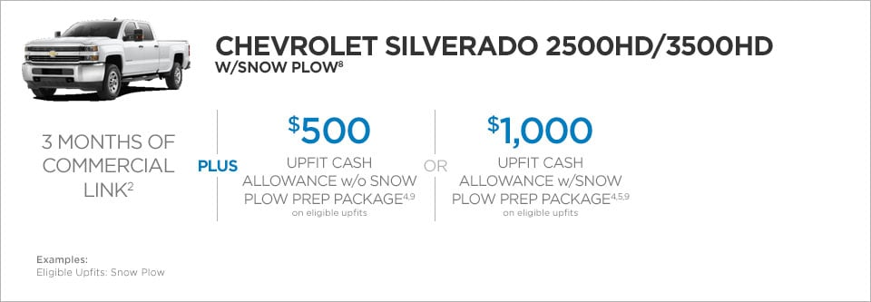 Chevrolet Silverado 2500/3500 W/Snow Plow Commercial Incentives
