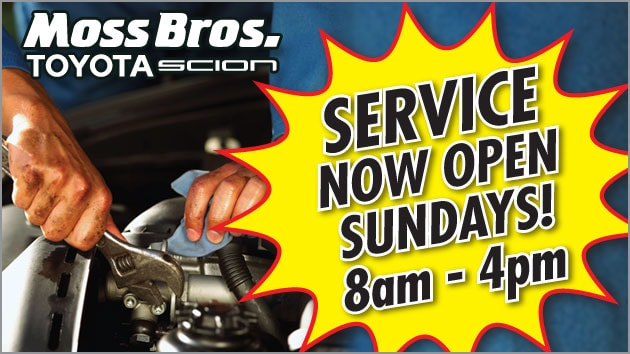 Toyota Service Now Open Sundays 8am to 4pm at Moss Bros. Toyota Scion