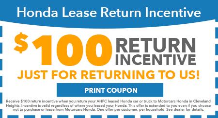 100 Lease return incentive