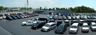 Overhead view of Mullane Motors used car lot