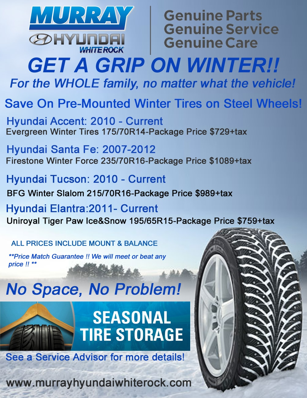 winter tire specials sale on at your local hyundai dealer in surrey