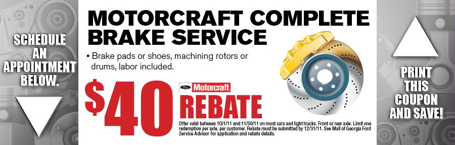 Motorcraft Brake Service Mall Of Georgia Ford Service