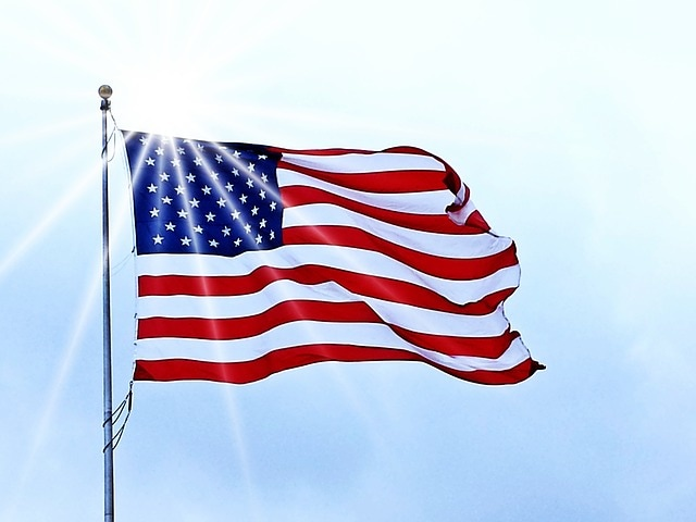 USA Flag waving in wind
