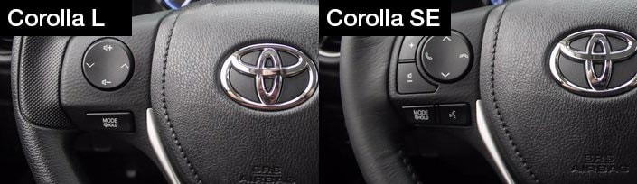 Corolla L vs Corolla SE steering wheel| Northridge Toyota, serving Lake Balboa