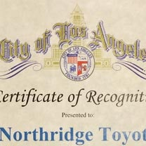 City of Los Angeles Recognition | For a great selection of new and used Toyota vehicles, visit Northridge Toyota. Whether you're looking to buy or lease, we will have a Toyota just for you.