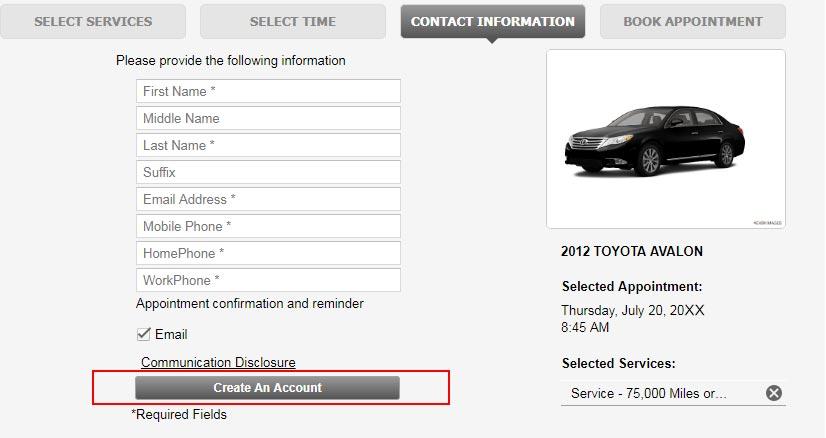 Service Account Registration Sample | Northridge Toyota