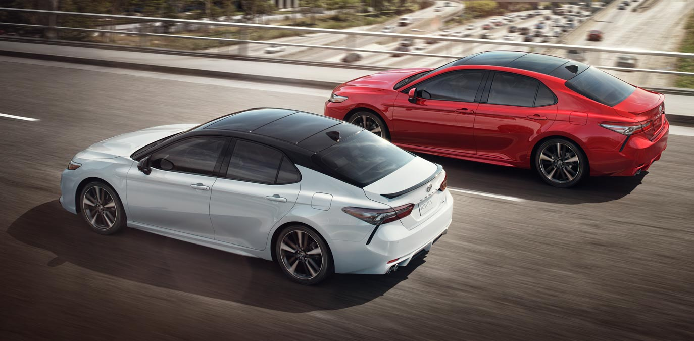 Two 2018 Toyota Camry side by side | Northridge Toyota serving Mission Hills, Reseda, Chatsworth, North Hollywood