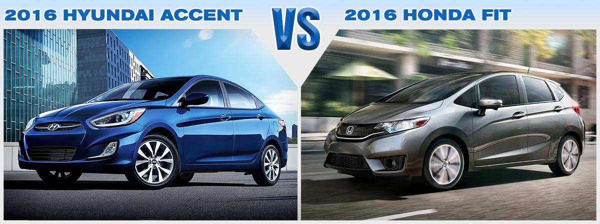 compare new 2016 honda fit vs  hyundai accent