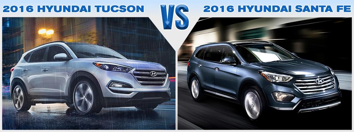 Compare New 2016 Hyundai Tucson Vs Santa Fe Price Mpg