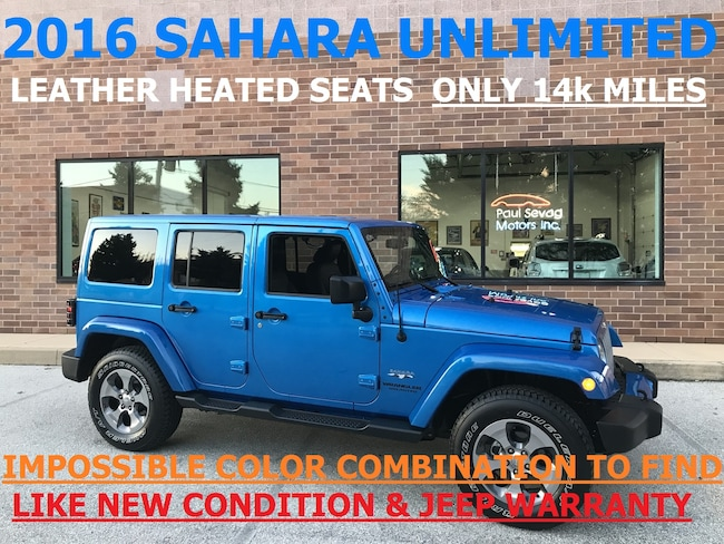 2016 Jeep Wrangler Unlimited Sahara 4x4 Body-Color Top/Heated Leather Seats SUV