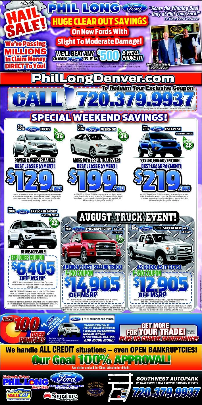 Huge Sell on Hail Damaged Vehicles at Phil Long Denver!