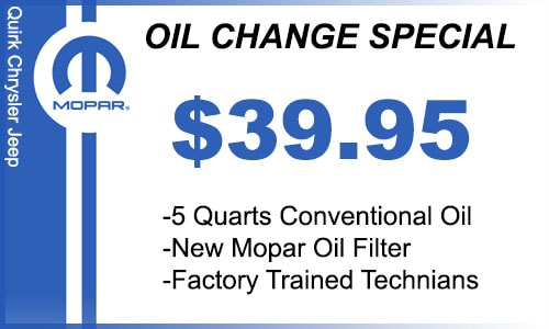 Quirk Chrycler Jeep Service Coupon | Oil Change | Braintree, MA